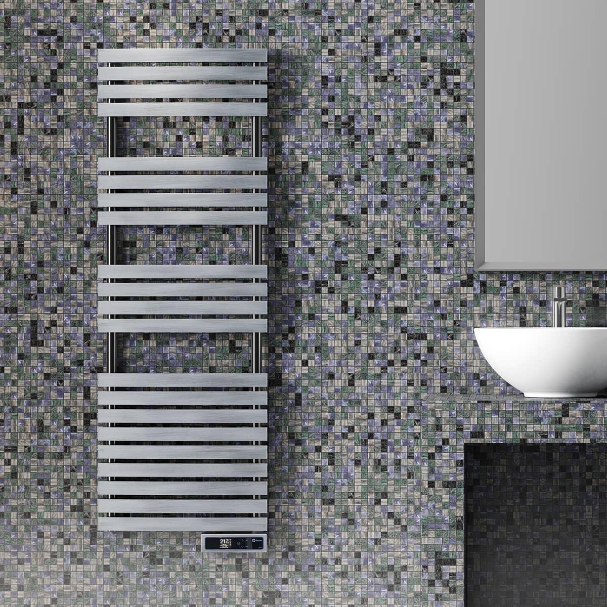 Rointe steel wall mounted electric heated bathroom towel rail in tokyo silver satin finish