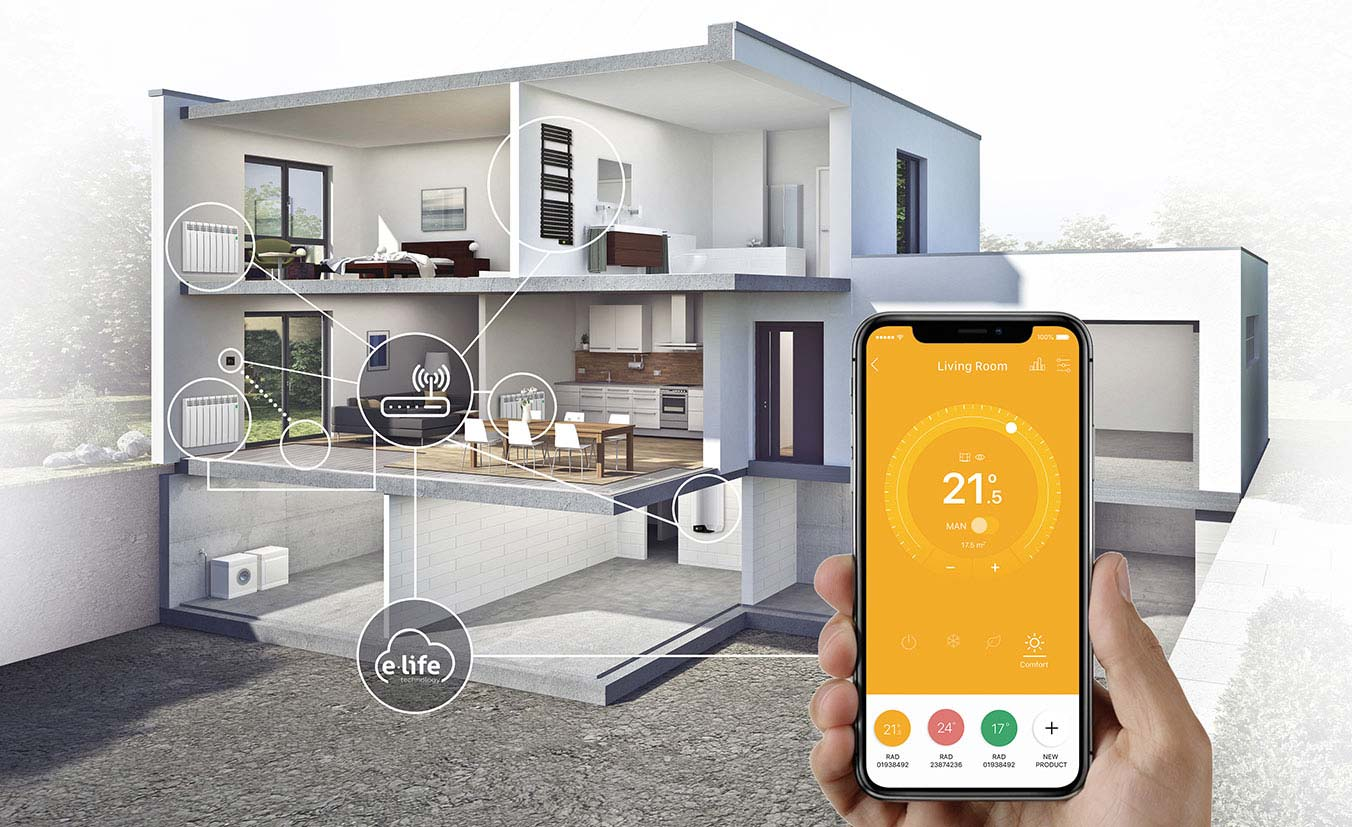 Rointe connected heating system of radiators, towel rails, underfloor and water heater controlled by Rointe Connect app