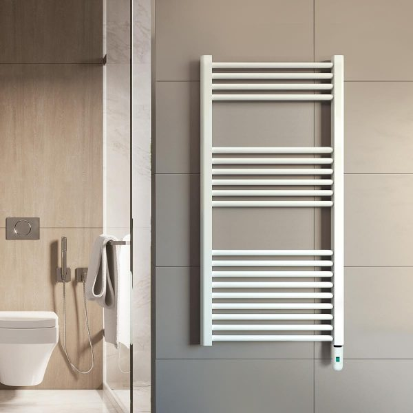 Rointe Elba Pro electric towel rail with on/off control in white wall mounted in bathroom