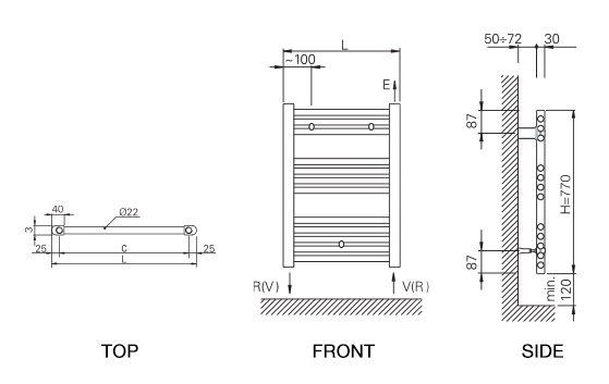 Rointe Elba towel rail dimensions diagram