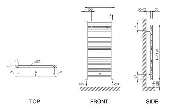Rointe Elba towel rail dimensions diagram