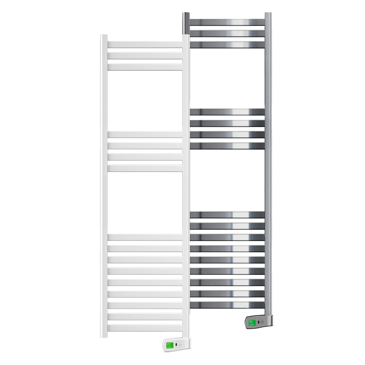 Rointe Kyros 750 W smart timer steel oil filled towel rails in white and chrome